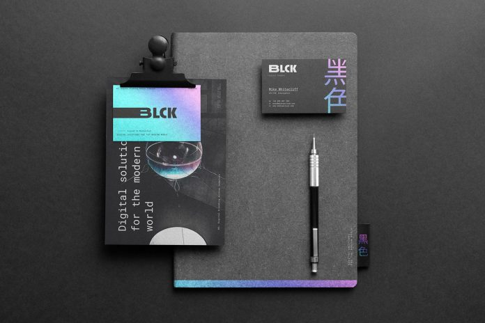 Black stationery branding mockup from Mockup Cloud.