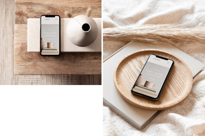 The Carmen photo mockup bundle includes interior spaces and devices.