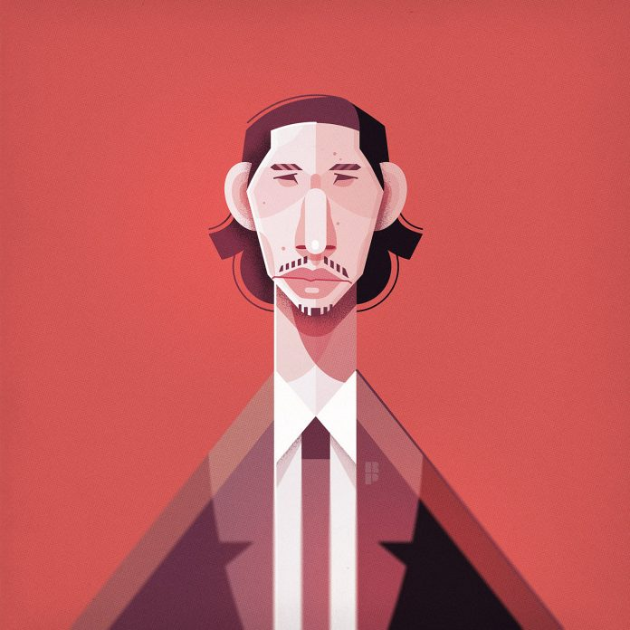Adam Driver - Illustrations of famous actors created by Ricardo Polo.