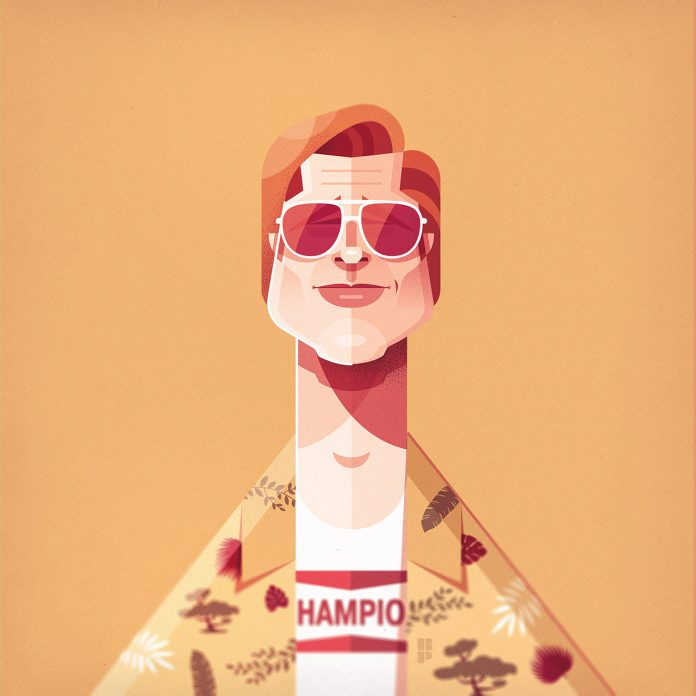 Brad Pitt (Once Upon a Time in Hollywood) - Illustrations of famous actors created by Ricardo Polo