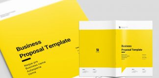 Yellow Proposal Brochure Layout with Black Accents by Sirisako