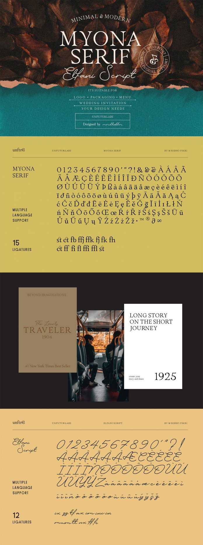 Myona Serif Font and Elfani Script Font plus extras.