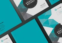 Annual Report Layout Template with Teal Elements for Adobe InDesign.