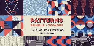 Geometric Patterns Bundle: 100 seamless patterns for any kind of graphic design projects.