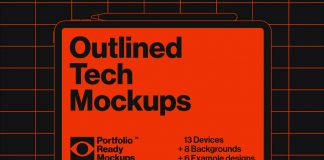 Outlined Tech Mockups available as EPS vector files.