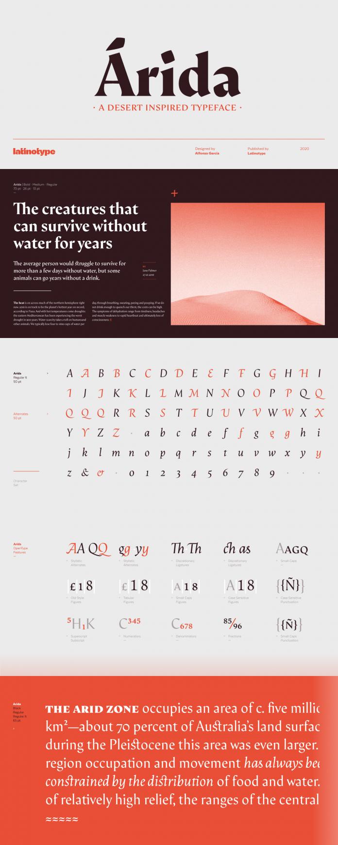 Árida font family by Latinotype.