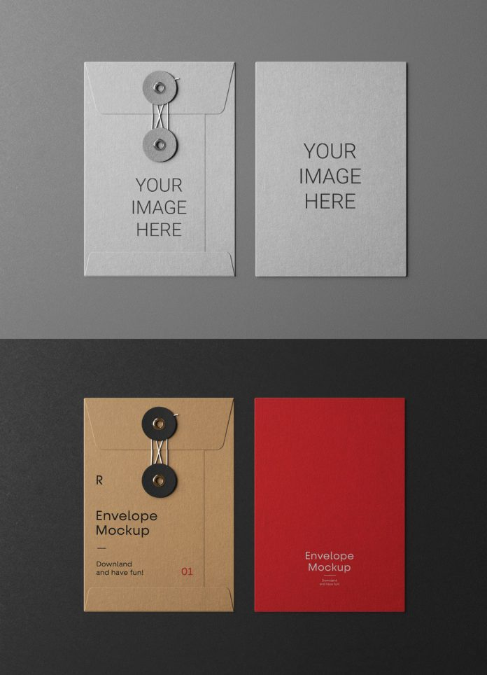 Envelope mockups for Adobe Photoshop with string closure.