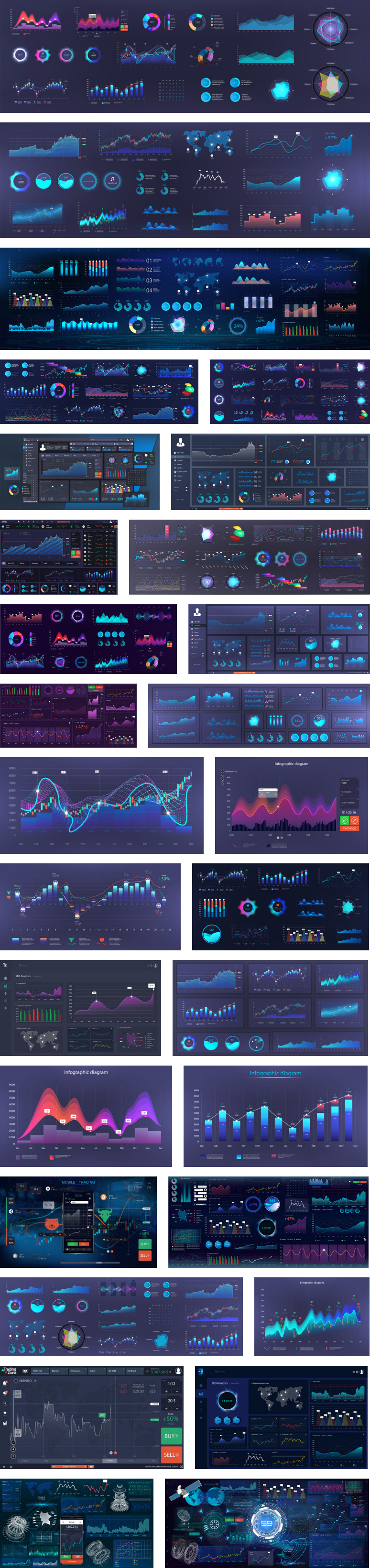 Infographic dashboard templates with charts, diagrams, graphic elements, online statistics, and data analytics available for download as vector graphics