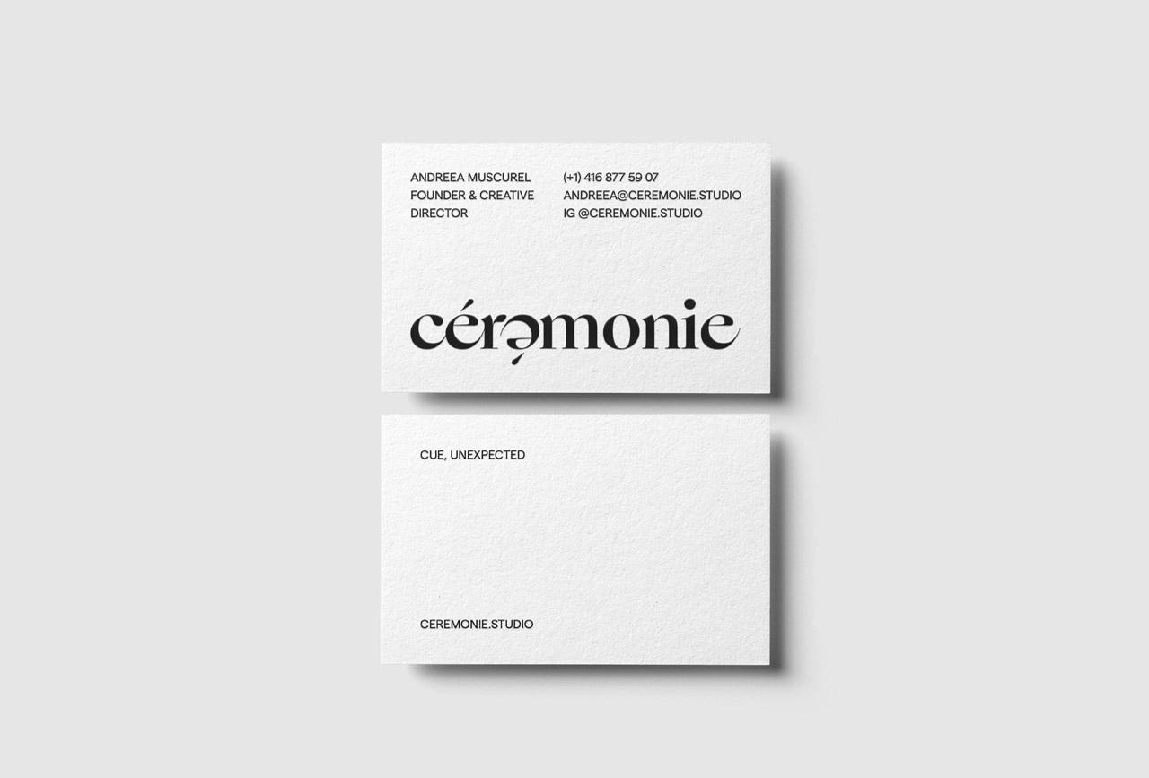 Brand identity design by fagerström for Cérémonie, a Toronto-based wedding photography studio.