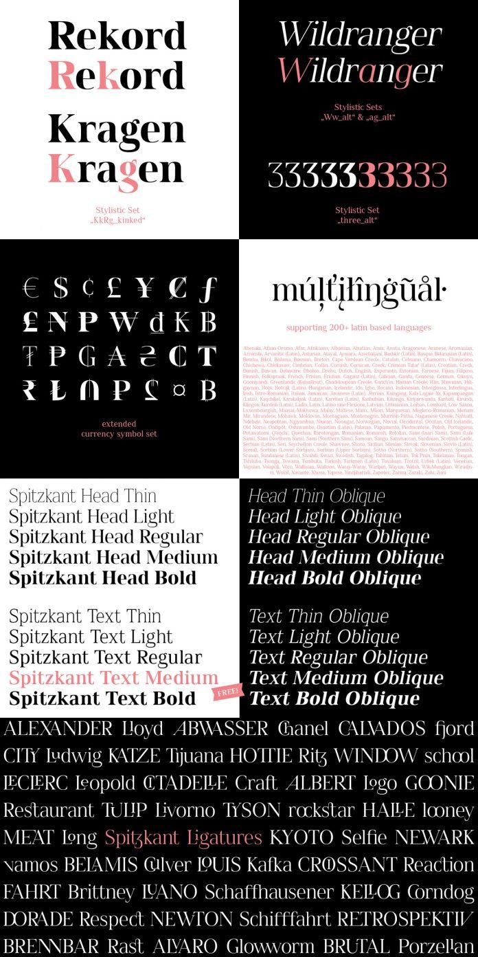 Spitzkant font family by Julien Fincker.