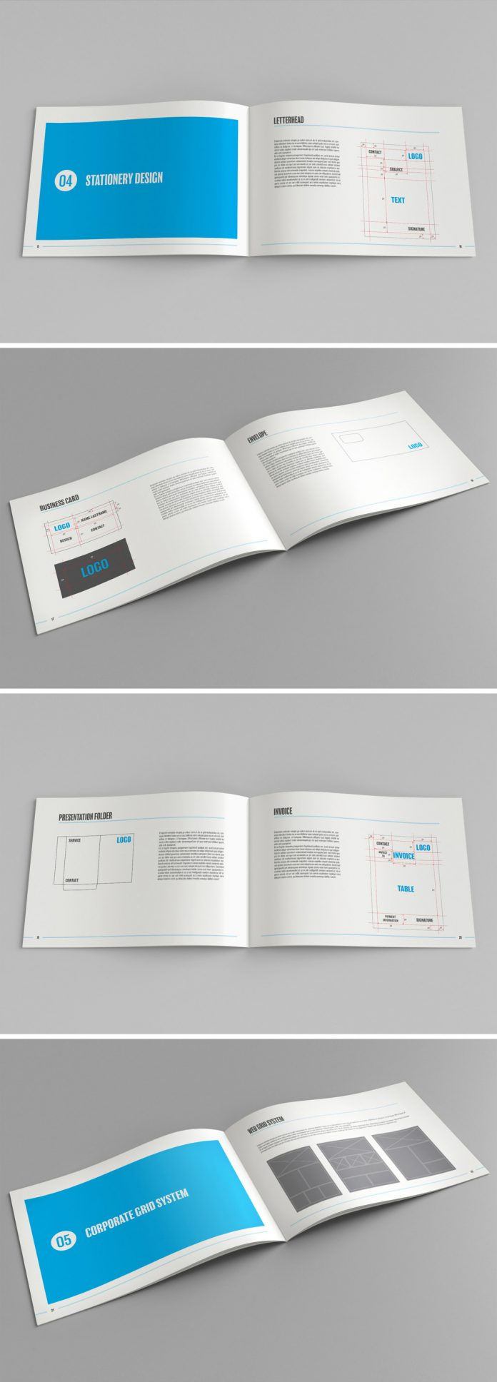 A brand manual and style guide template for Adobe InDesign.