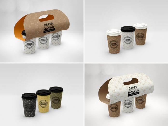 Paper cups with a carrier.