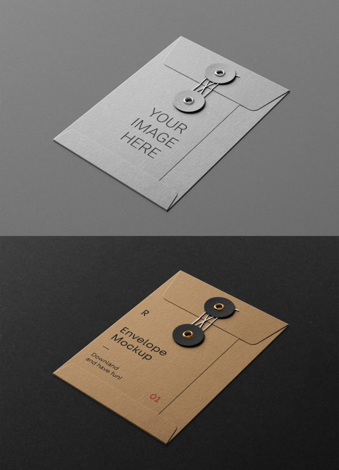 Small string envelope mockup for Adobe Photoshop.