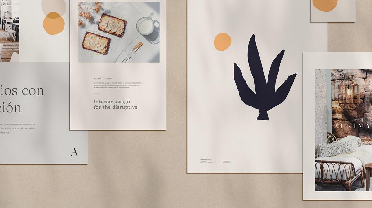 Brand identity design by Latente Studio for Alkimya, a boutique interior design firm.