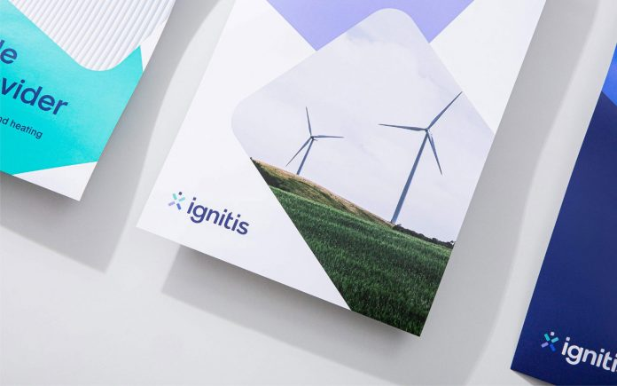 Communication design, branding, and stationery design by Andstudio for Ignitis.