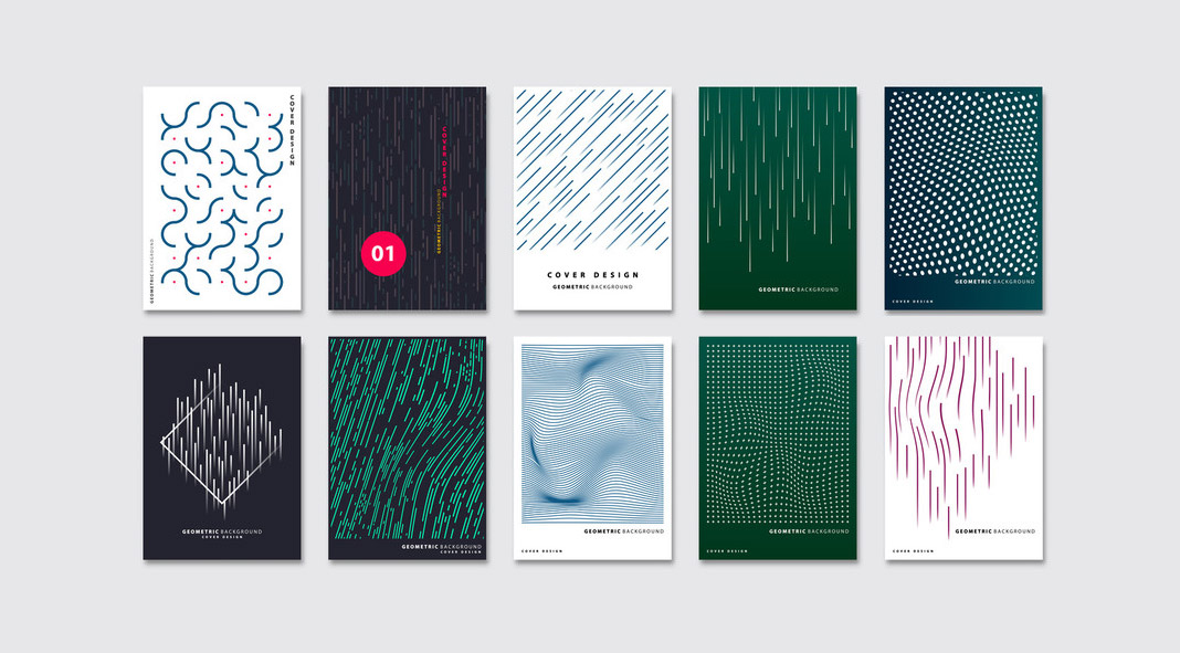 Abstract geometric vector graphic design templates by Archiwiz.