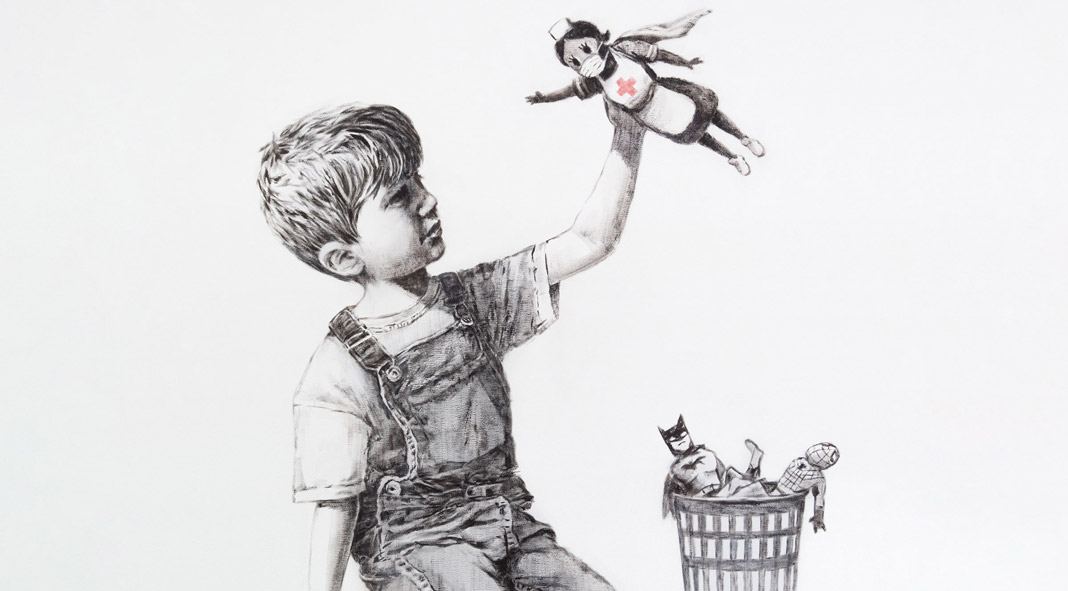 Banksy painted a nurse as a superhero.