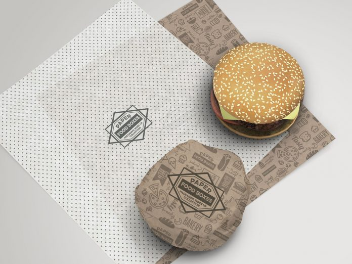 Burger paper wrapper packaging.