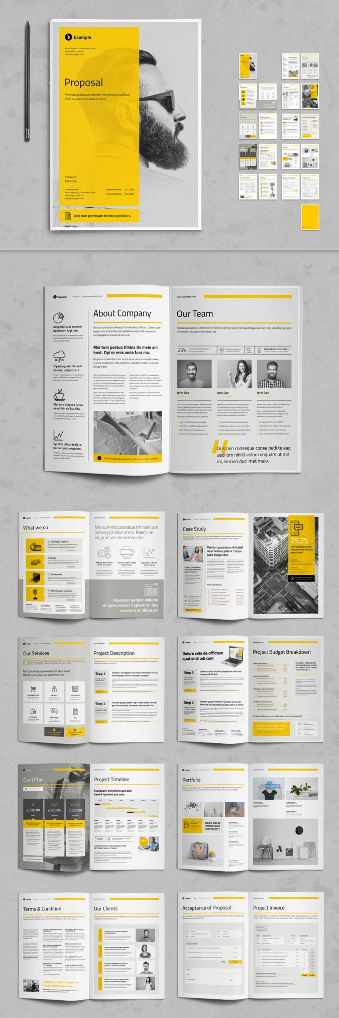 Business Proposal Template with Yellow and Gray Accents for Adobe InDesign.