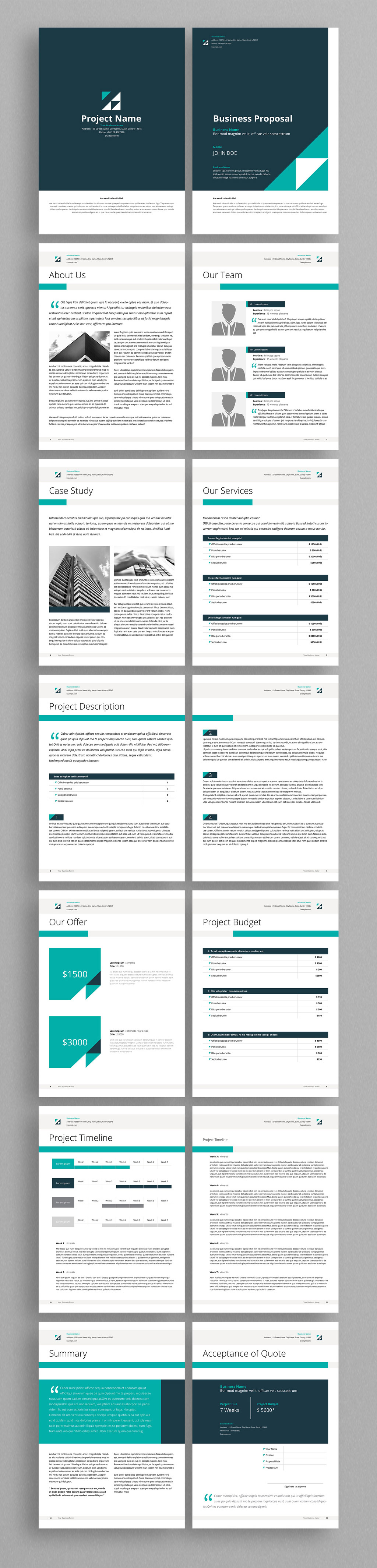 Business proposal design template with green accents
