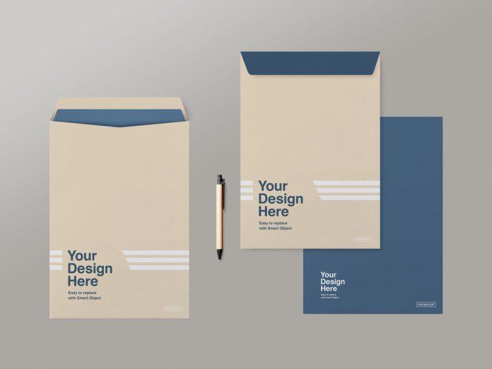 C4 envelopes mockup for Adobe Photoshop.