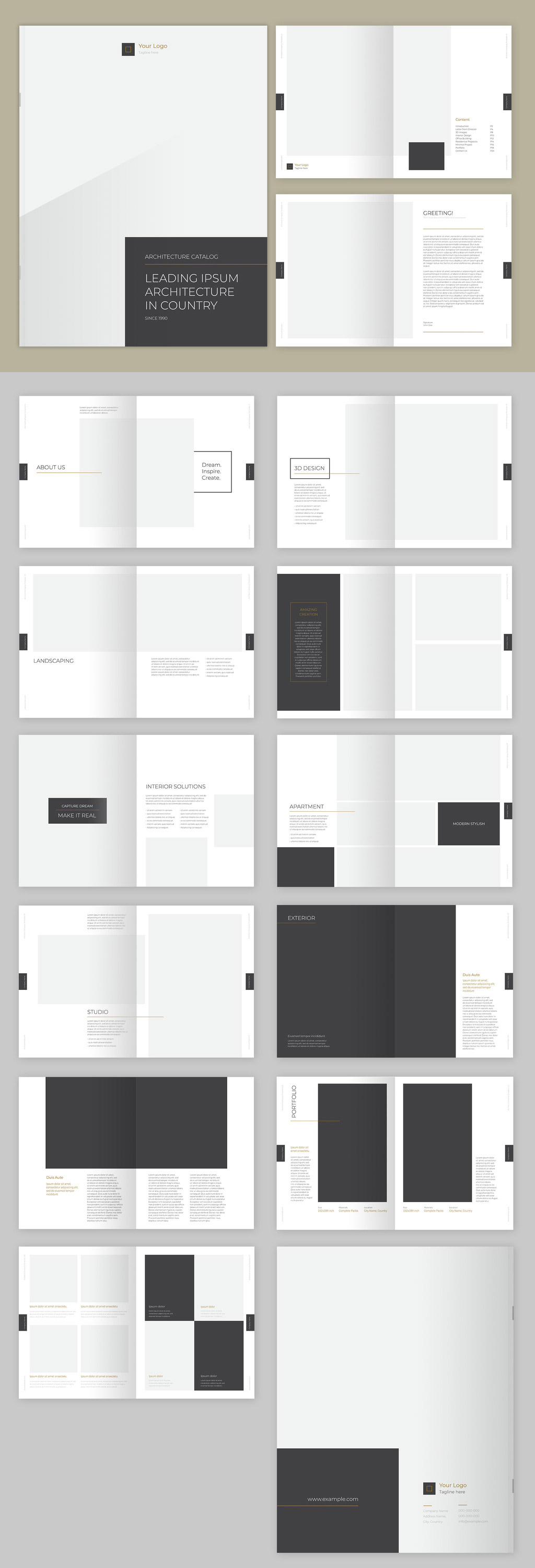 Catalog InDesign layout with gray and gold accents.