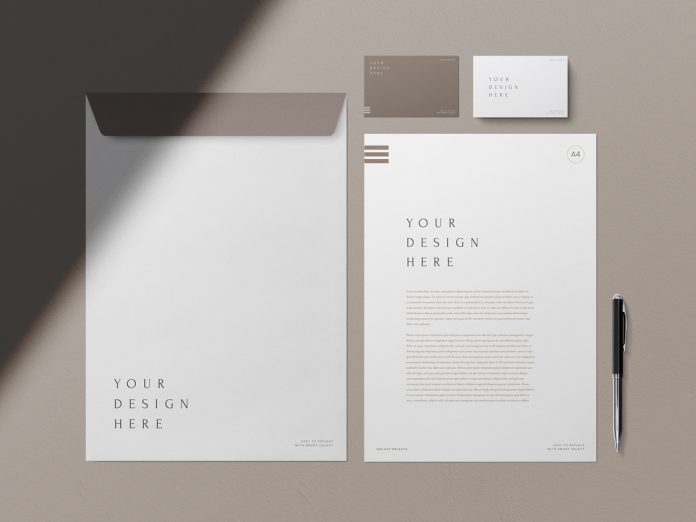Clean business cards and stationery mockup.