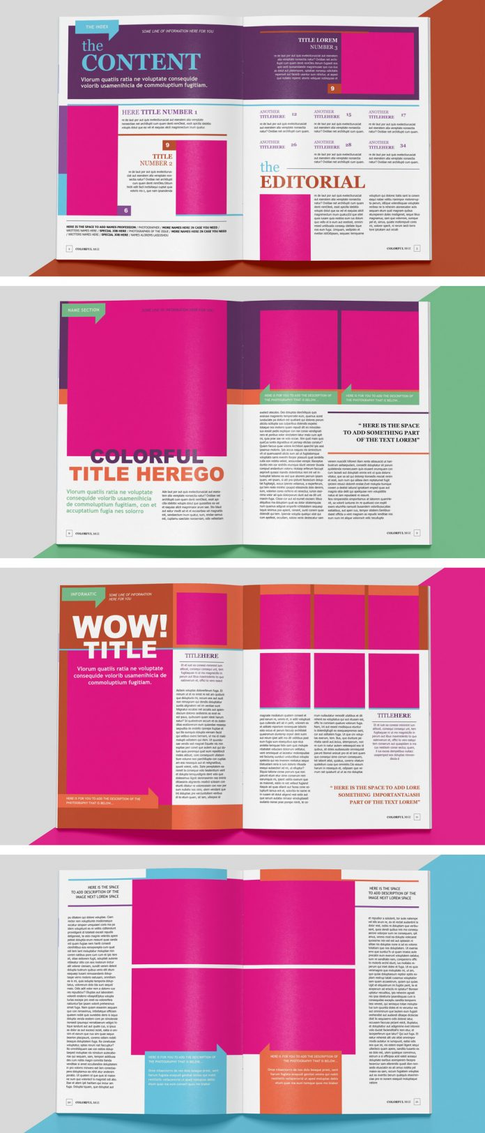 A colorful magazine template for Adobe InDesign.