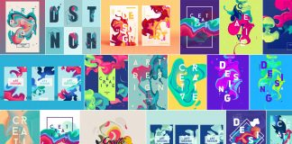 Colorful poster templates and graphics based on abstract vector shapes.