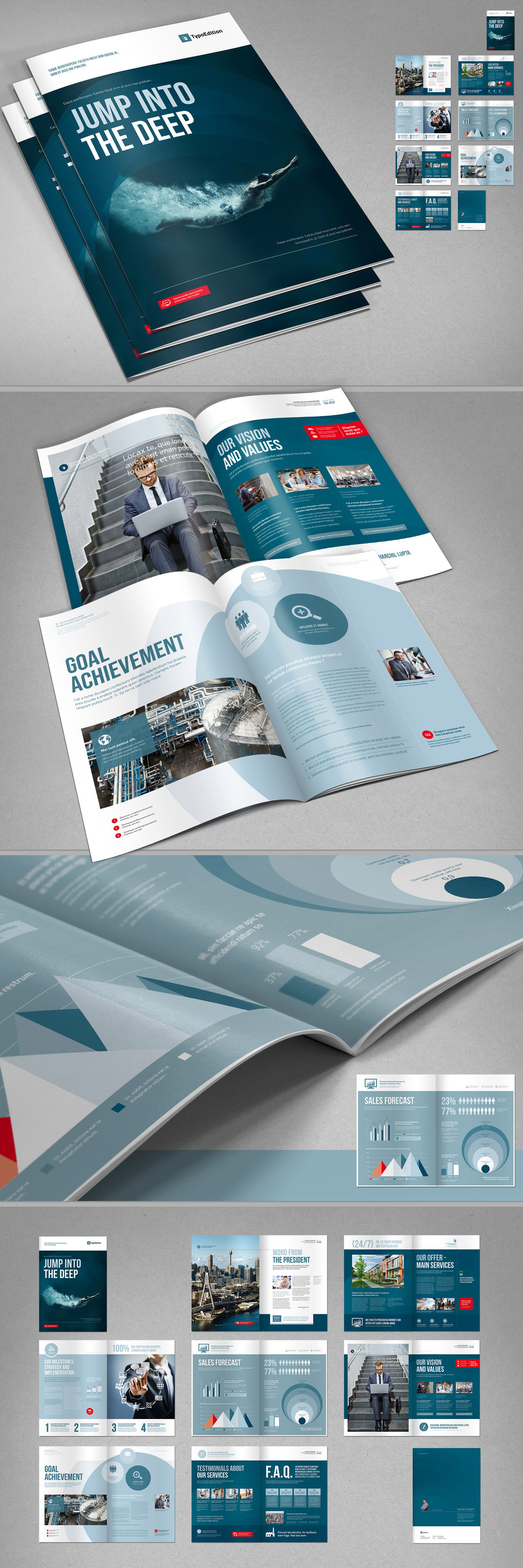 Corporate brochure template with blue accents.