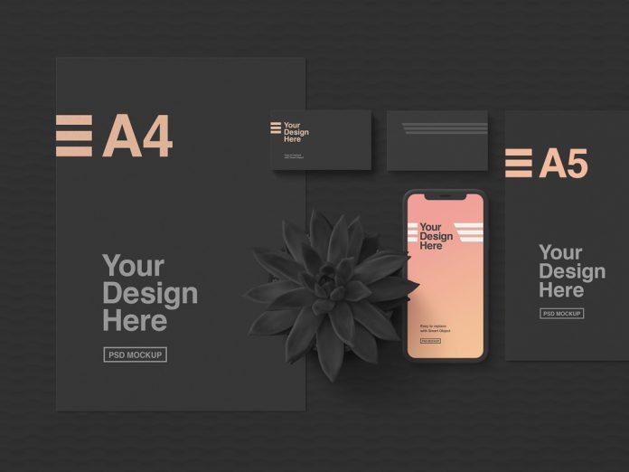 Dark stationery and smartphone mockup for Adobe Photoshop.