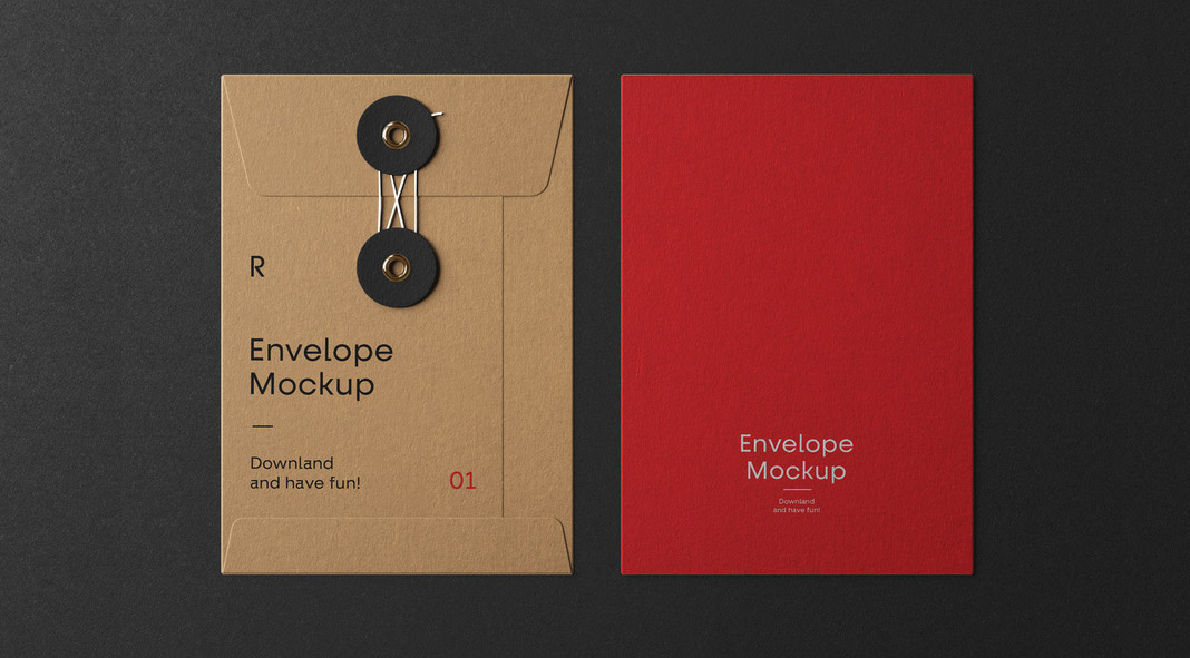 Envelope Mockups for Adobe Photoshop with String Closure