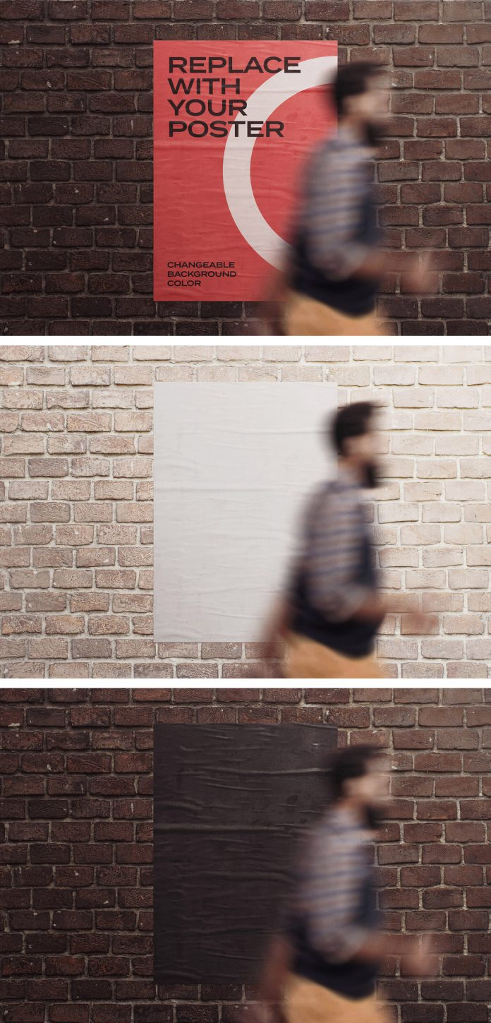 Glued poster Photoshop mockup on a brick wall with a man in motion blur.