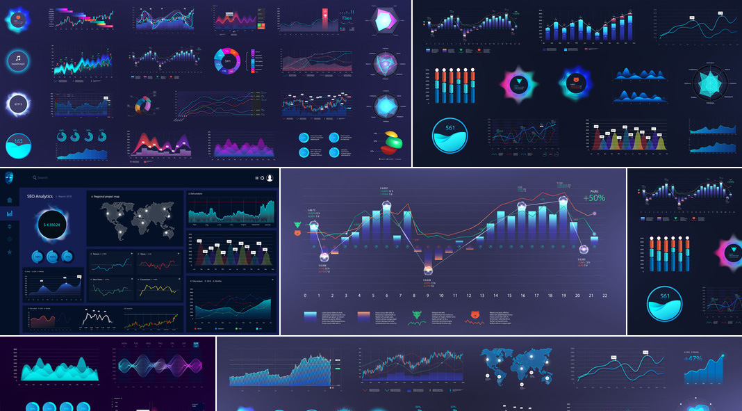 Infographic Dashboard Templates by Sergey Bitos at Adobe Stock