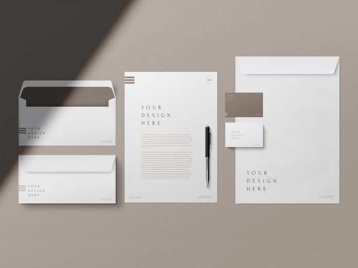 Minimalist business cards and stationary mockup for Adobe Photoshop.
