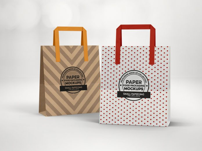 Paper bag with flat handles.