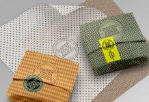 Paper packaging design mockups for Adobe Photoshop.