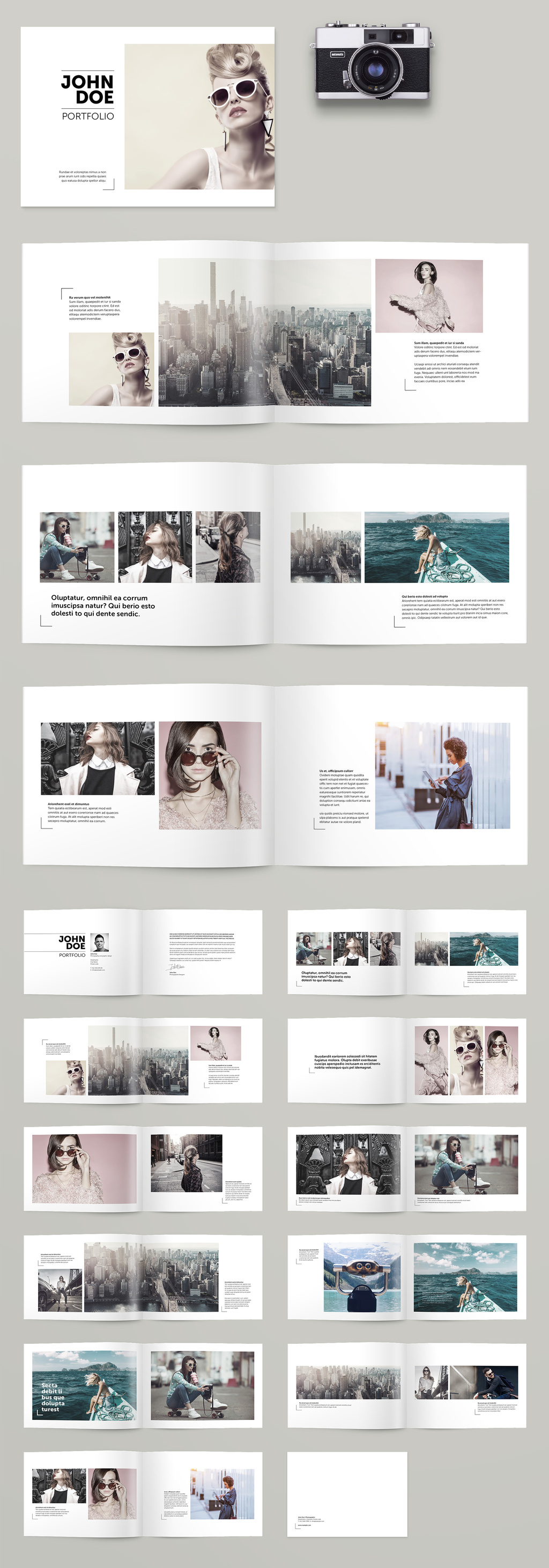 Portfolio brochure layout available as fully editable Adobe InDesign template.