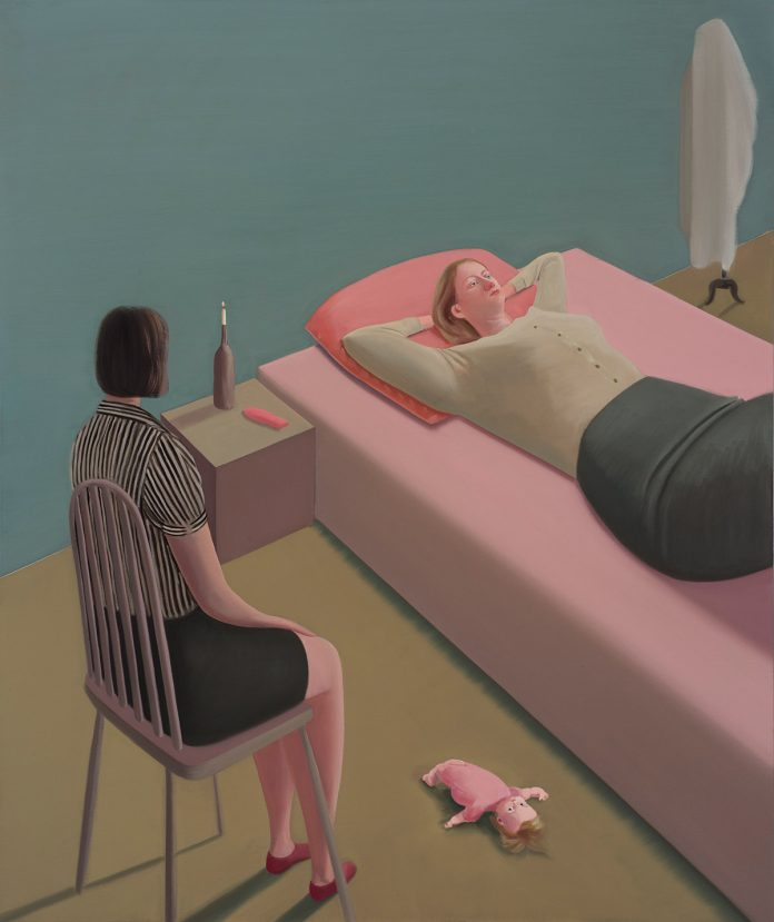 Prudence Flint, Bedsit, 2016, oil on linen, 122 x 102cm, (Finalist in the 2017 Arthur Guy Memorial Painting Prize), (Winner of St Kevin's Art Show 2018)
