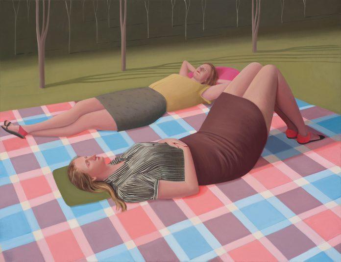 Prudence Flint, Large Tartan Blanket, 2016, oil on linen, 109 x 142cm, (Finalist in the 2016 Doug Moran National Portrait Prize)