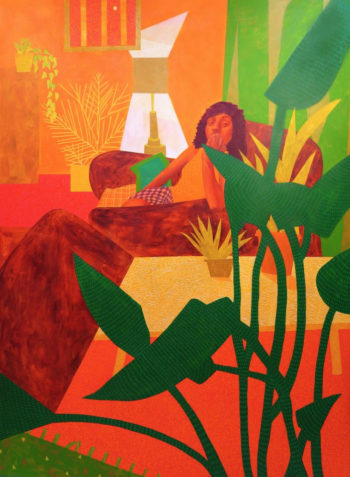 "Sheila Nicolin, Fuzzy Living Room, 2020, Acrylic on Canvas, 60"" x 84"""