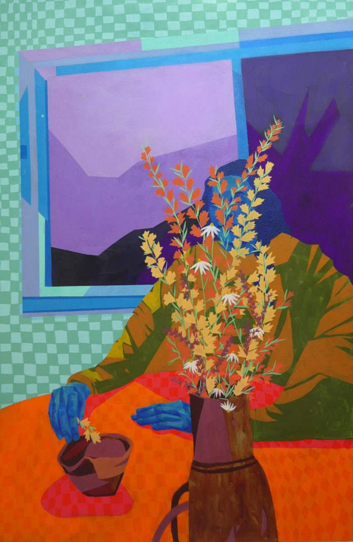 "Sheila Nicolin, Indoor Fever Dream, 2020, Acrylic on Canvas, 48"" x 72"""