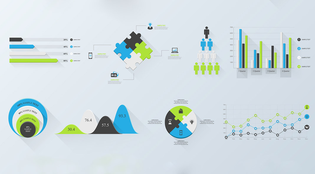 Three-Color Infographics (Set 2)