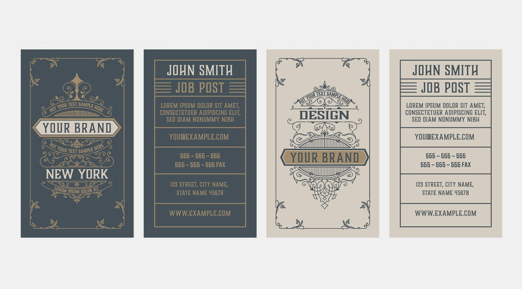 Vintage Business Card Design Templates by Roverto Castillo for Adobe Illustrator.