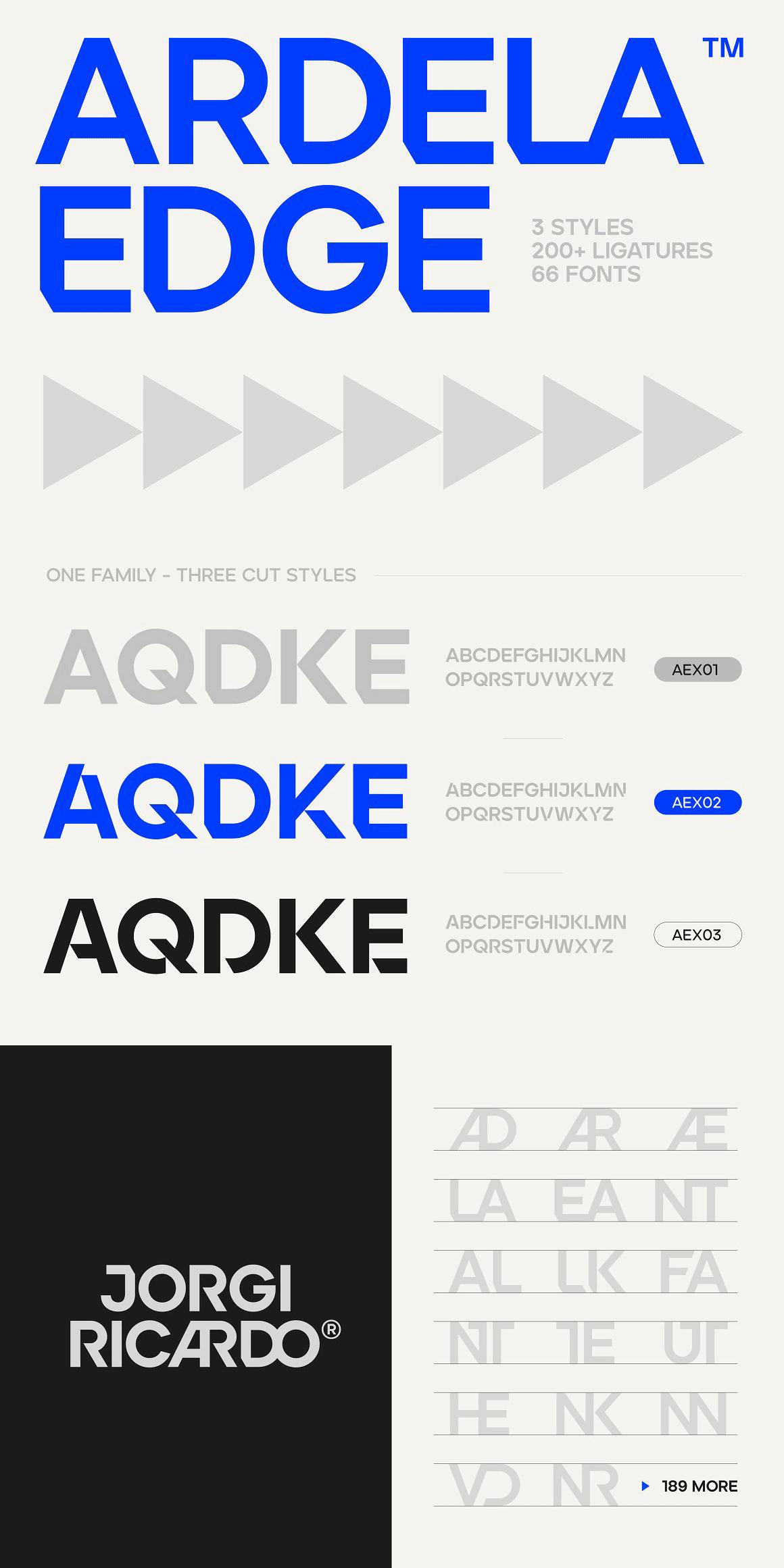 Ardela Edge font family by Ellen Luff.