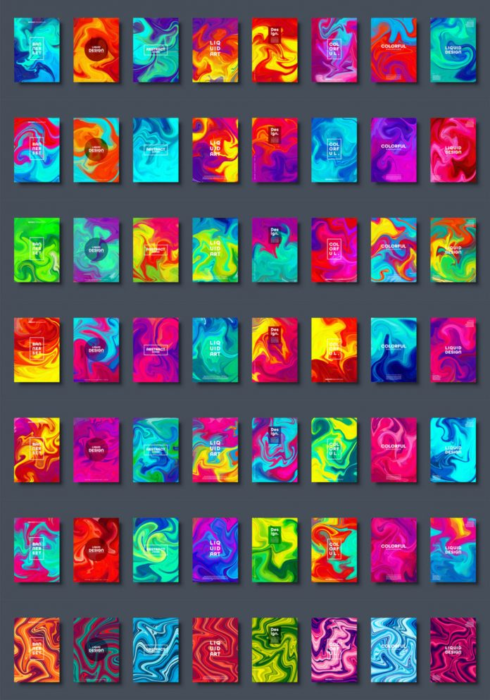 Colorful abstract liquid backgrounds and fluid marble texture available as vector graphics.