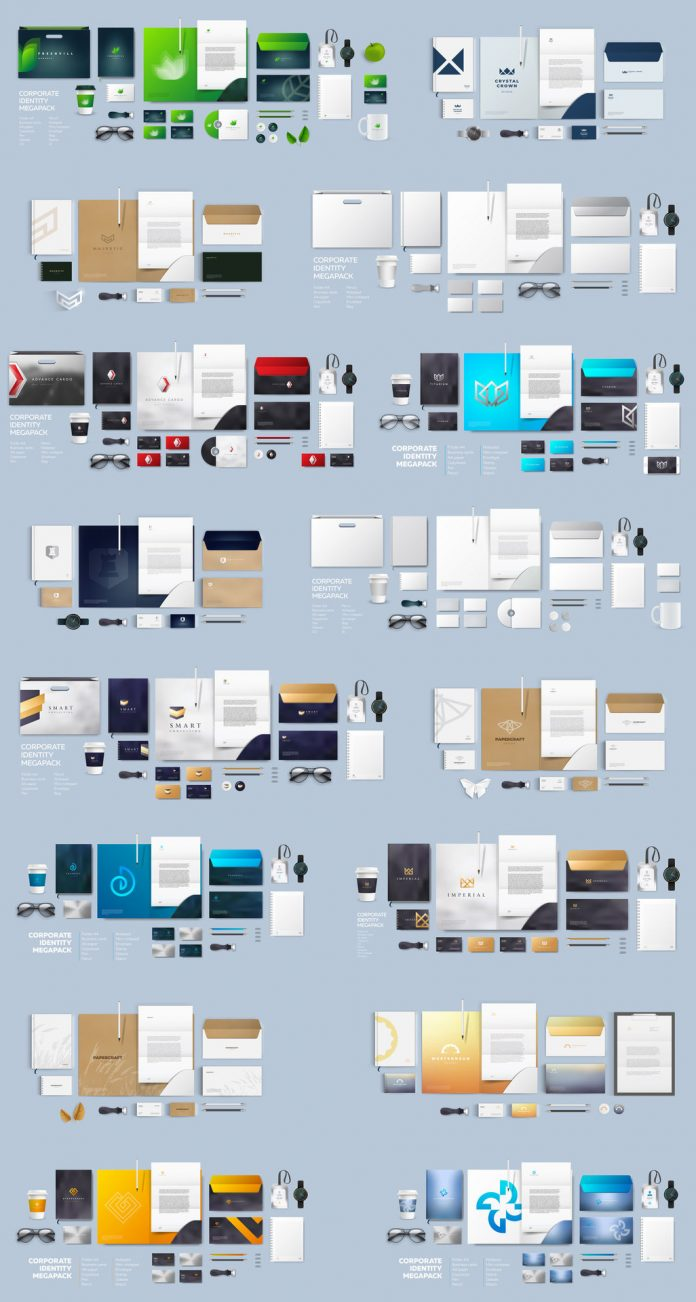 Stationery and branding mockups based on fully editable vector graphics.