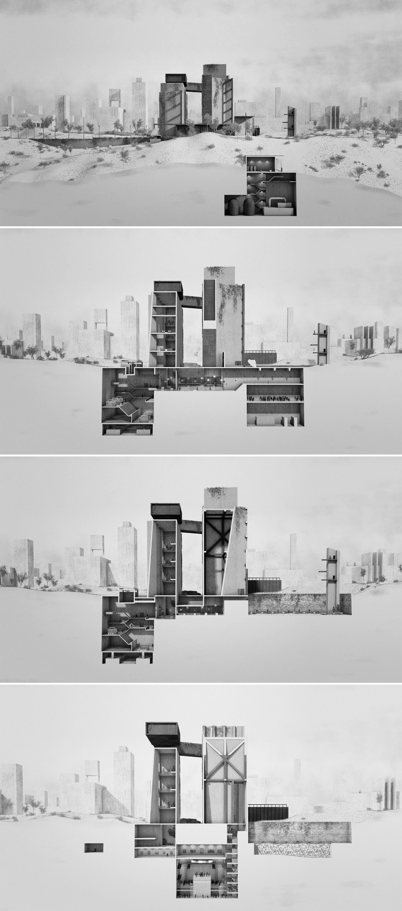Utopia, an animated short film by studio Optical Arts using a cross-section view.