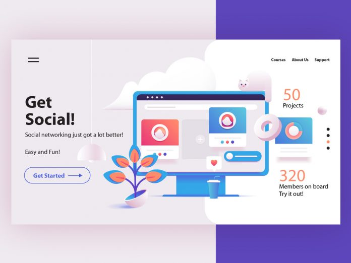 Website Landing Page Layout with 3D Illustration