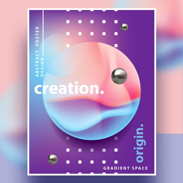 Geometric poster design template with abstract semi-surreal landscape.